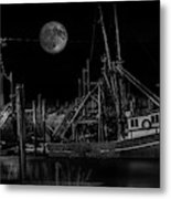 Black And White Art Fishing Boat And Full Moon Metal Print