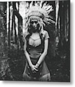 Black And White Mood In The Forest Metal Print