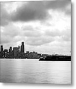 Black And White Panorama Of Seattle Skyline Reflected On The Bay Metal Print