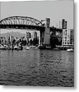 black and white panorama of Vancouver from plaza of nations showing the beautiful city Metal Print