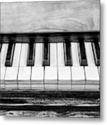 Black And White Piano Metal Print