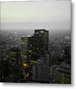 Black And White Tokyo Skyline At Night With Vibrant Selective Yellow Colors Metal Print