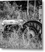 Black And White Tractor Metal Print