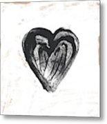 Black Heart- Art By Linda Woods Metal Print