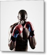 Black Male Boxer In Boxing Stance Metal Print