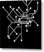 Black Philadelphia Subway Map Metal Print