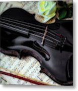 Black Violin On Sheet Music Metal Print