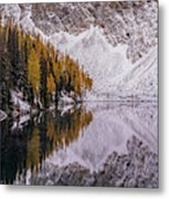 Blue Lake Fall Symmetry Metal Print