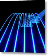 Blue Abstract Coloured Lights Trails Metal Print
