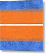 Blue And Orange Abstract Theme Iv Metal Print