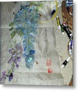 Blue Bird And Wisteria Metal Print