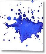 Blue Blobs On The Paper Metal Print