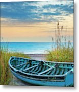 Blue Boat At Dawn Metal Print