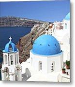 Blue Domes Of Santorini Metal Print