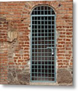 Blue Grid Doorway Metal Print
