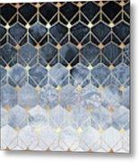 Blue Hexagons And Diamonds Metal Print