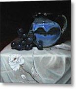Blue Jar And Dark Purple Grapes Metal Print