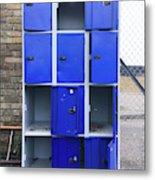 Blue School Lockers Metal Print