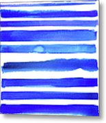 Blue Textured Stripes Metal Print
