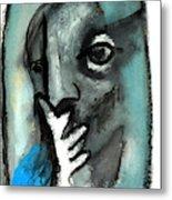 Blue Thinker Metal Print