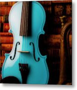 Blue Violin And Old Books Metal Print