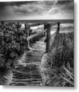Boardwalk To The Sea In Radiant Black And White Metal Print