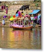 Boat And Bank Of The Narmada River, India Metal Print