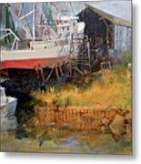Boat In Drydock Metal Print