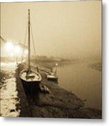 Boat On Wintry Quay Metal Print