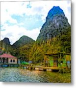 Boat People Homes On Gulf Of Tonkin Ha Long Bay Vietnam Metal Print