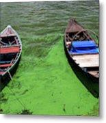 Boats On Algae, In Santarem, Brazil. Metal Print