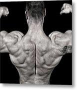Bodybuilder Posing Metal Print