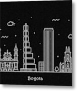 Bogota Skyline Travel Poster Metal Print