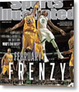 Boston Celtics Vs Los Angeles Lakers Sports Illustrated Cover Metal Print