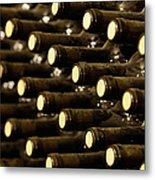 Bottled Red Wine Aging In Wine Cellar Metal Print