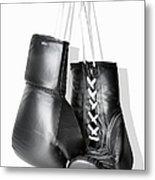 Boxing Gloves Hanging Against White Metal Print