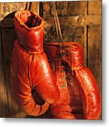 Boxing Gloves Hanging On Rustic Wooden Metal Print