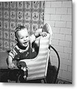 Boy 2-3 Sitting In High Chair,  B&w Metal Print