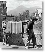 Boys Working In Pasta Factory Carry Metal Print