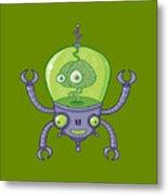 Brainbot Robot With Brain Metal Print