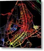Brasilia Brazil City Street Map Watercolor Dark Mode Metal Print