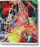 Brasilia Brazil Watercolor City Street Map Metal Print