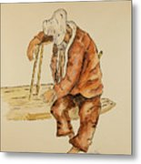 Brazil Watercolor Man On Bench Metal Print