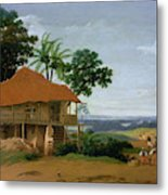Brazilian Landscape With A Worker   S House  Metal Print