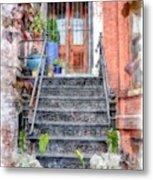 Brick Townhouse Walkup Watercolor Metal Print