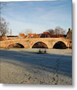 bridge over river Tyne in Haddington in winter Metal Print