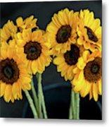 Bright Yellow Sunflowers Metal Print