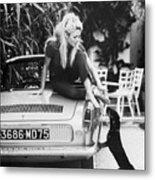 Brigitte Bardot With Dachshund Metal Print