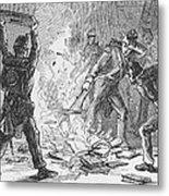 British Soldiers Burning Books In Metal Print