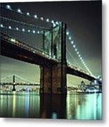 Brooklyn Bridge At Night, New York City Metal Print